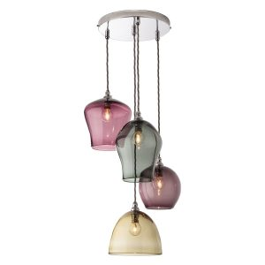 4 drop pendant chandelier lights - Multicolour