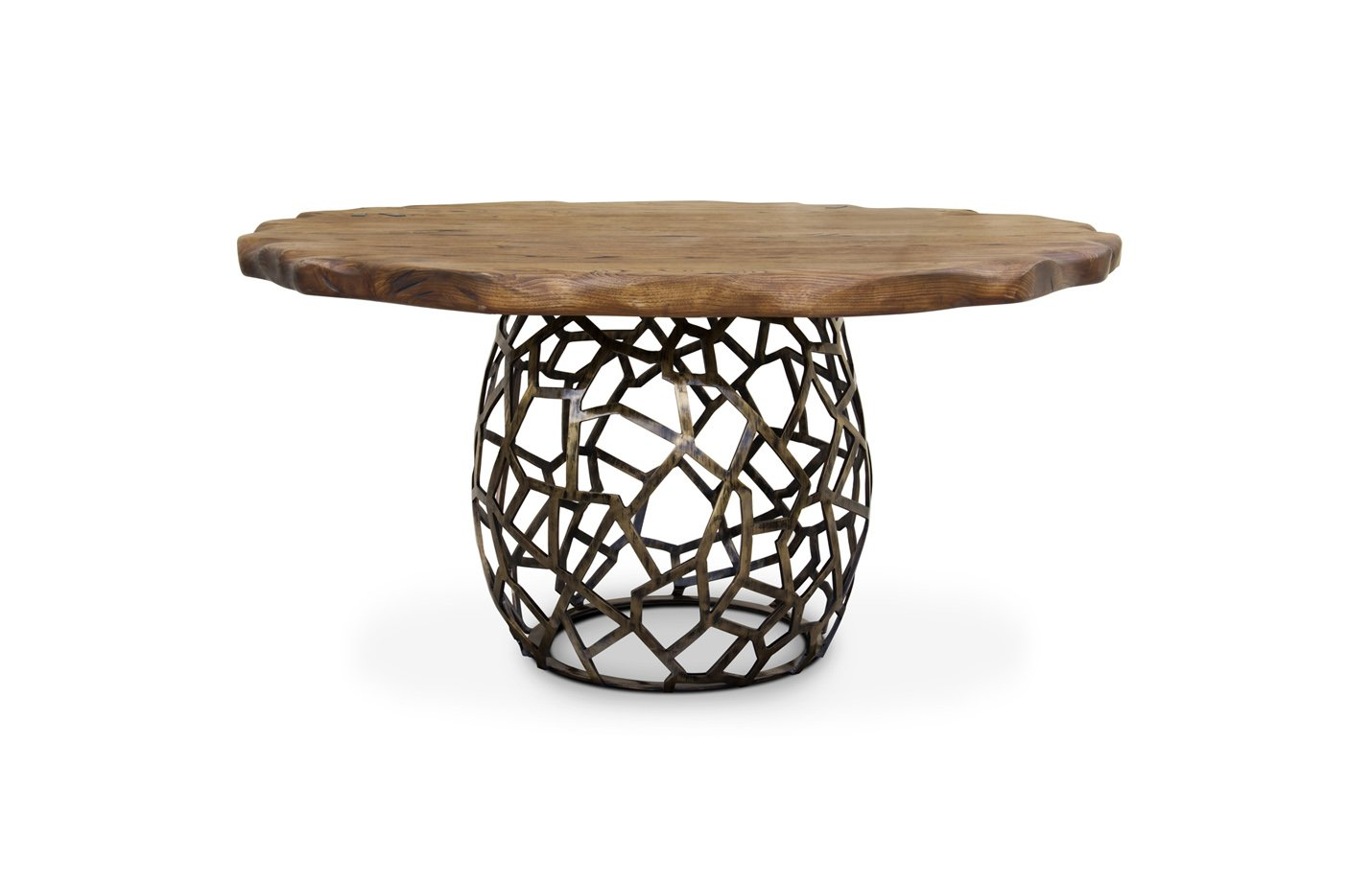 APIS Dining Table – Oak – brass
