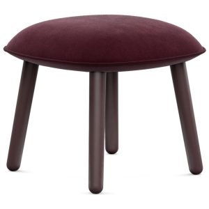 Ace footstool - velour - dark red
