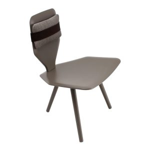 Bavaresk low chair - leather - grey