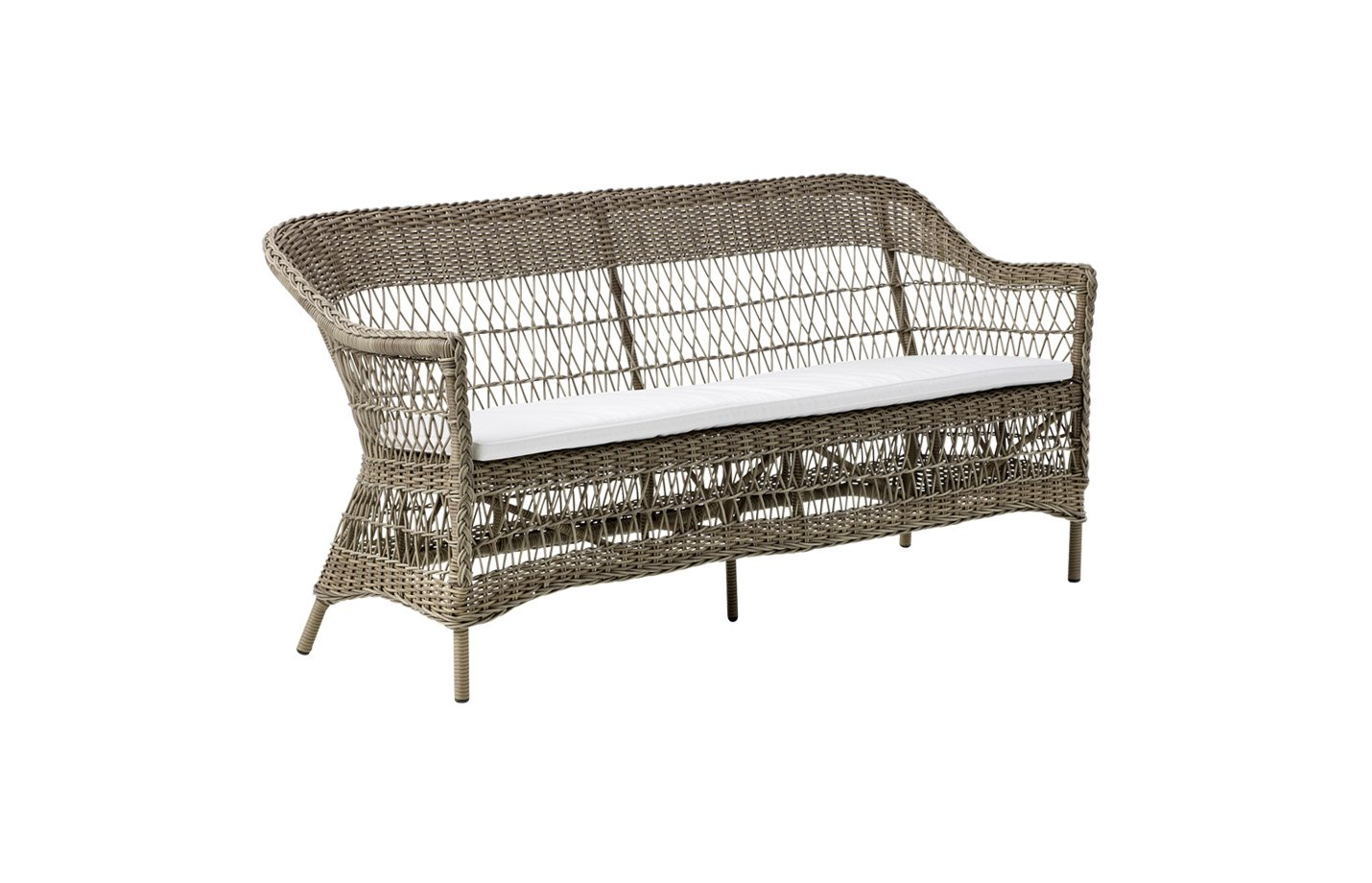 Charlot three seater cushion – Alu rattan – Antique