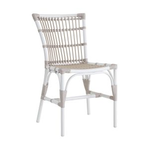 Elisabeth chair - Alu rattan - dove - white