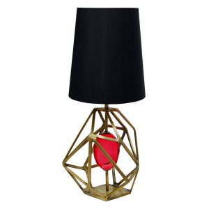 Gem table lamp - Brass - Fuschia