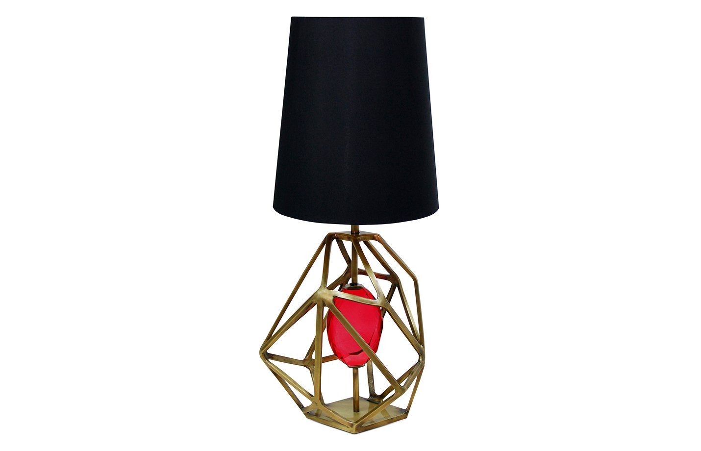 Gem table lamp – Brass – Fuschia