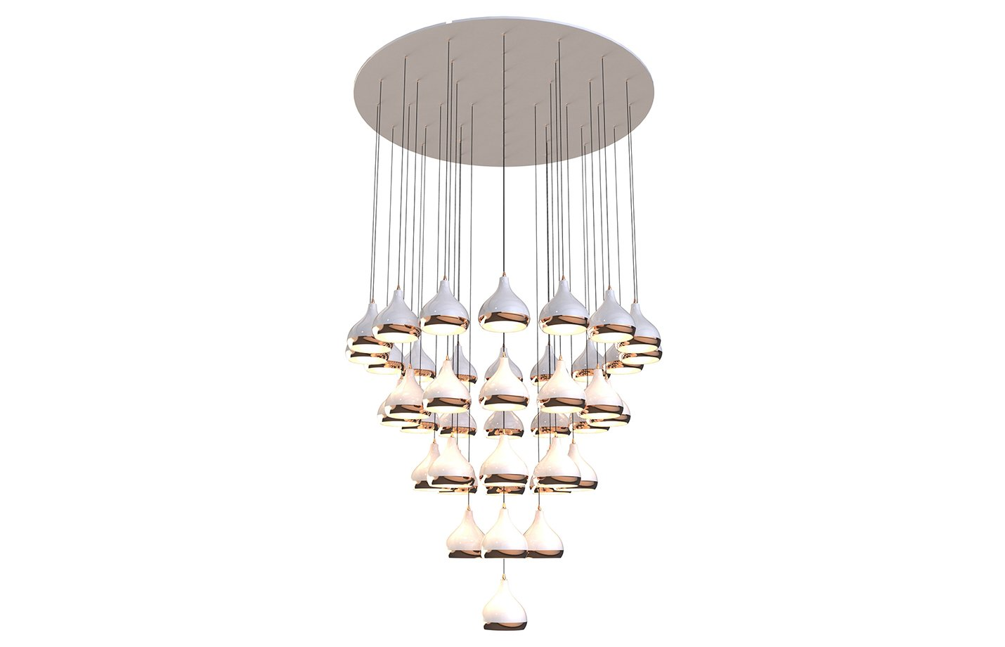 Hanna chandelier light – copper – white