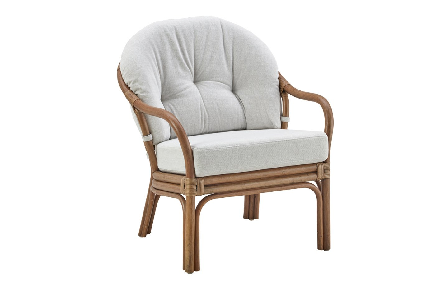 London low back chair – rattan – antique
