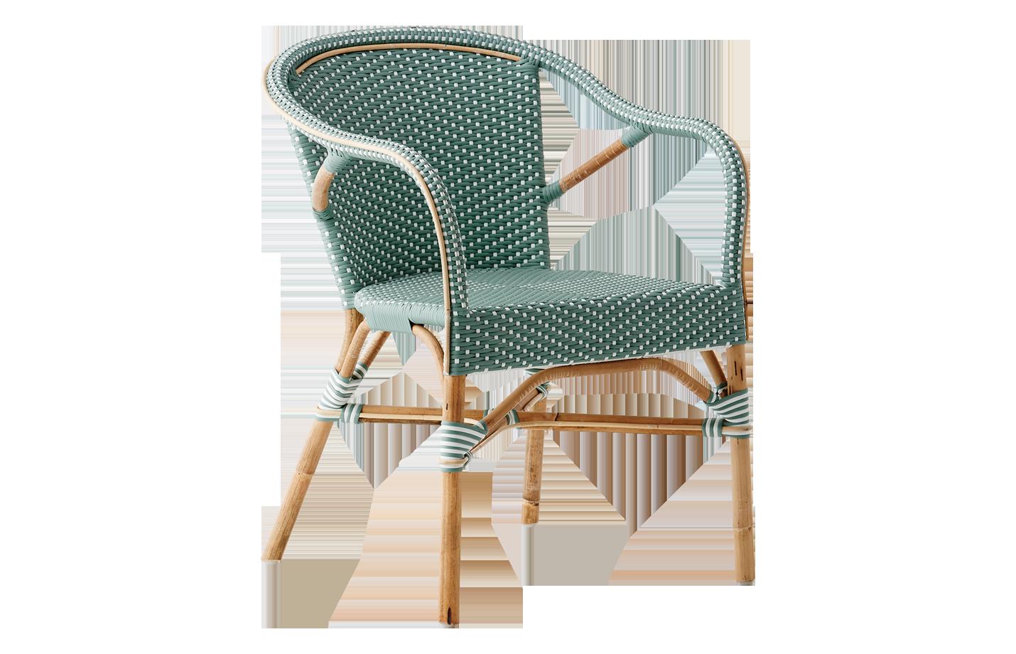 Madeleine chair – armrest – Rattan – salvie – green – White