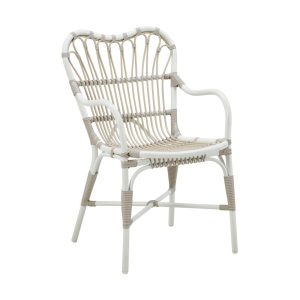 Margret chair Alu rattan - dove - white