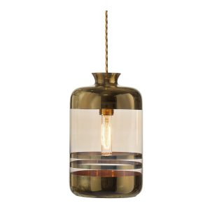 Pillar pendant stripes lamp - Gold