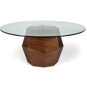 Rock table dining - glass - walnut