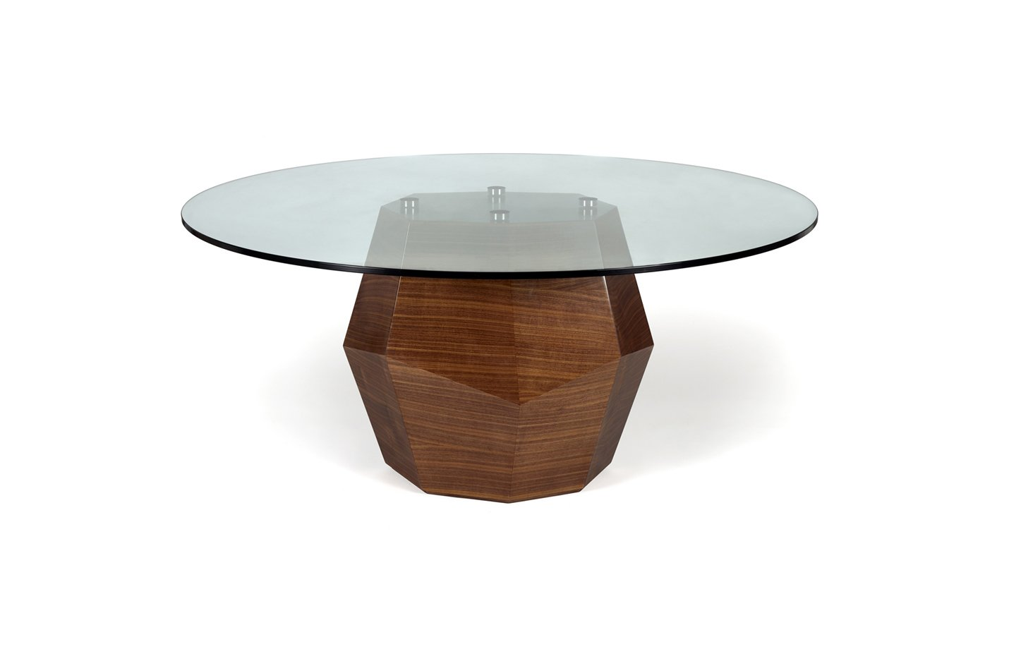 Rock table dining – glass – walnut