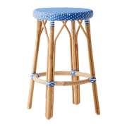 Simone-counter-stool-Aqua-blue-White-dot