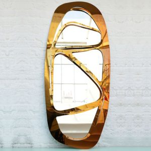 Web Oval Mirror - Gold